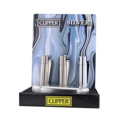 Clipper - Metal Vuursteen aansteker - Zilver - Display + Giftbox (12-stuks)
