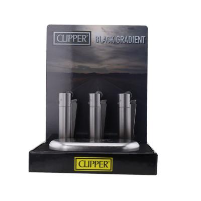 Clipper - Metal Vuursteen aansteker - Zwart Gradient - Display + Giftbox (12-stuks)