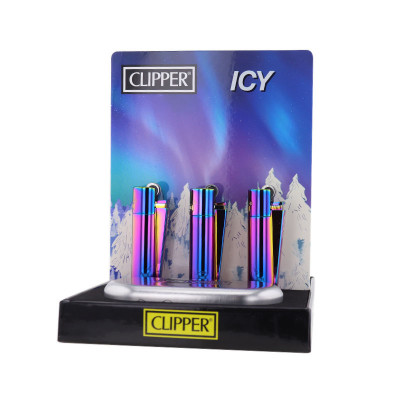 Clipper - Metal Vuursteen aansteker - Icy Colors 2 - Display + Giftbox (12-stuks)