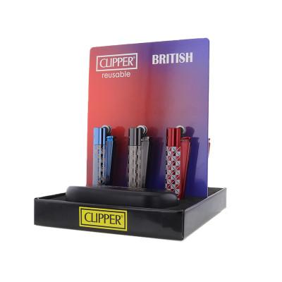 Clipper - Metal Vuursteen aansteker - British - Display + Giftbox (12-stuks)